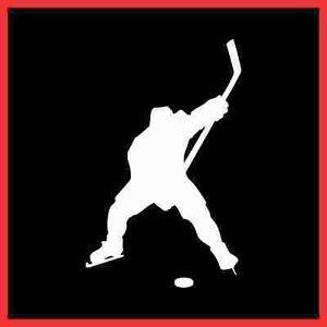 "6"" White Custom Hockey Player Slapshot Vinyl Decal Sticker Personalize Free"
