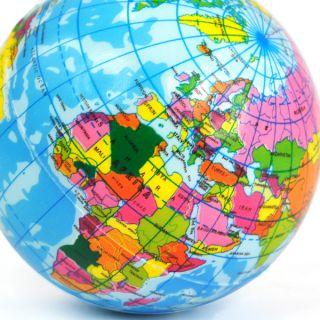 New World Map Foam Earth Globe Stress Relief Bouncy Ball Atlas Geography Toy