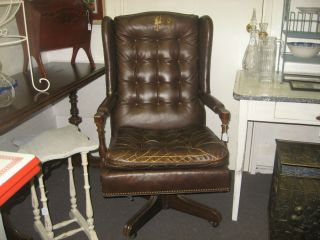 Vintage Ethan Allen Brown Leather Executive Office Chair