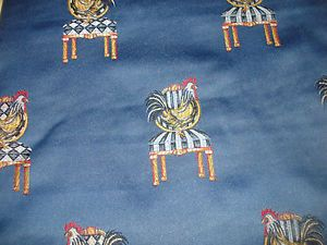 Medimun Blue Fabric Rooster on Chair