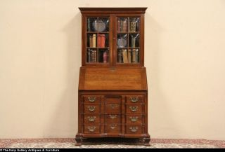 Maddox Chippendale Block Front Cherry Secretary Desk Bookcase