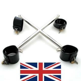 Leather Hogtie x Shaped Spreader Bar Restraints 4 Padlocks UK Based Fast Shi