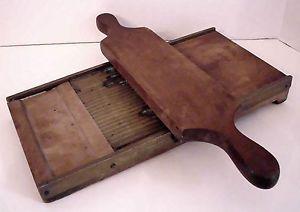 Antique Vintage Wood Brass Kitchen Tool Grater Shredder Noodle Maker Cutter