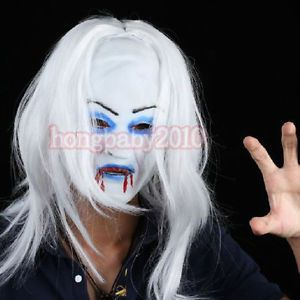 2013 Halloween Masquerade White Hair Ghost Masks Latex Horror Unisex Party Masks