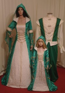 Medieval Renaissance Hooded Wedding Dress Handfasting Celtic in Emerald Green