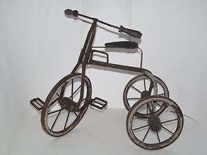 Antique Tricycle Bike Wood Wheels Hubs Grips Rusty Metal Frame Folk Art Toy