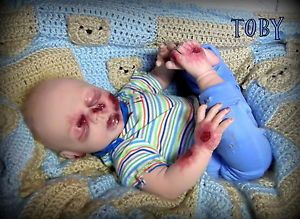 Sleeping Zombie Baby Handmade Collectible Reborn Doll Horror Halloween Goth