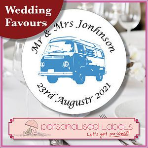 70 Personalised VW camper Van Wedding Day Invitation Labels Stickers Any Colour