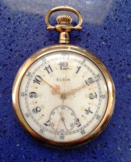 1914 Elgin 15 Jewel Pocket Watch Runs Gold Plated Case