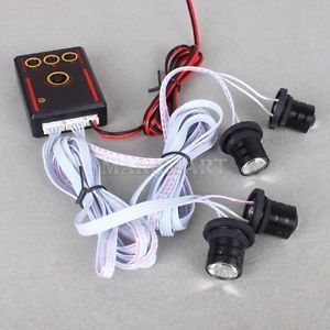 12V Car Auto Truck Motorcycle White Flash Warning 4 LED Strobe Light Lamp Bulbs