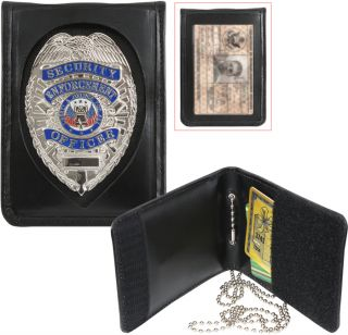 Law Enforcement Officer Police Security Leather Neck ID Badge Holder w Chain