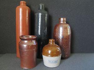 Five Vintage Antique Stoneware Bottles Gin Mineral Water Liquor Ink Food