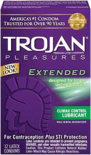 12 Trojan Extended Pleasure Condoms with Climax Control