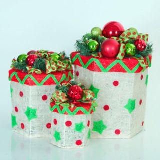 3 Piece Large Lighted Gift Box Christmas Yard Art Set