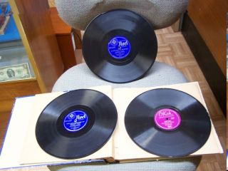 Vintage 78 RPM Record Albums 2 Noel and 1 Okeh Label Christmas with Book Holder