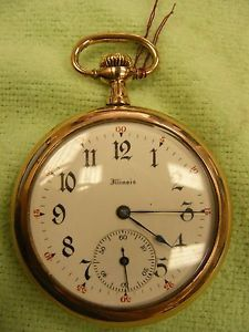 Illinois Pocket Watch Wadsworth 20 yr Case 17 Jewel Running 12 Size JC 97