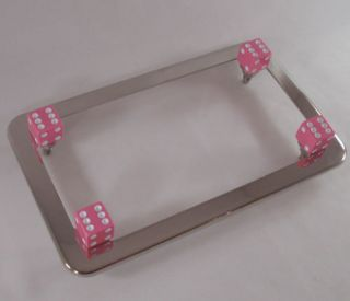 Chrome Motorcycle License Plate Tag Frame 4 Pink Dice Lic Fastener Bolts Kit