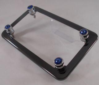 Black Chrome Motorcycle License Plate Frame 4 Blue Swarovski Crystal Gem Bolts