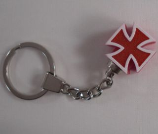 "Chrome Key Chain w Maltese ""Red"" Iron Cross Hot Rat Rod Hotrod Keychain"