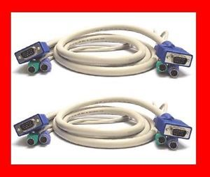 Lot of 2 CPS2 6A Genuine Avocent Cybex SwitchView Dell HP 6ft KVM Switch Cables