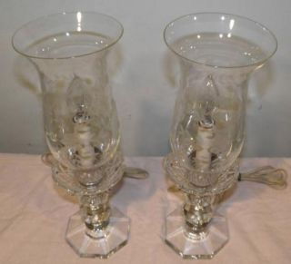 Vintage Pair Boudoir Electric Crystal Hurricane Lamps w Etched Glass Shades