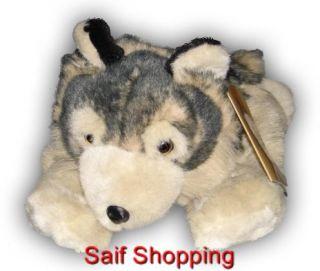 """Furry Plush Stuffed Animal Gray Timber Wolf Wolves 16"""""""