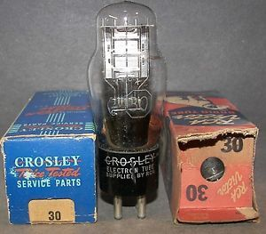 2 Type 30 Triode Radio Vacuum Tubes Crosley and RCA Victor