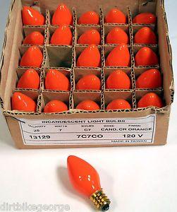 Box of 25 Night Light Candle Lamp Bulbs 7 Watt C7 Opaque Orange