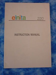 Original ELNA Instruction Manual Book Elnita 220
