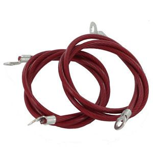 """All Sales Universal Hood Pin Pins Cables Lanyards 24"""" Vinyl Coated Red Pair"""
