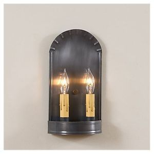 Arch Punch Tin Primitive Wall Sconce Lamp Lighting 2 Candle Light Country Decor