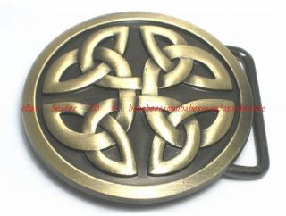 BBU1918L Irish Celtic Trinity Cross Eternity Knot Tribal Tattoo Art Belt Buckle