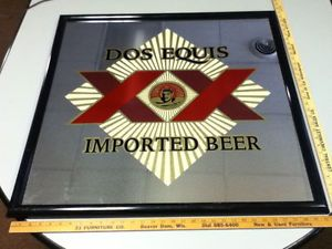 WO5 Dos Equis Beer Sign Bar Signs 1 Large Mirror Import Wall Display Mexico