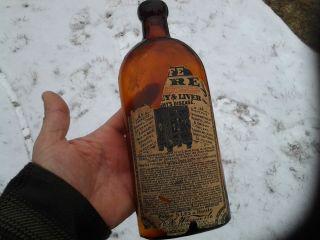 Early Original Label Antique Old Glass Bottle Warners Safe Kidney Cure Medicine