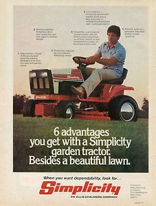 1979 Allis Chalmers AC Simplicity 6011 Lawn Mower Garden Tractor Magazine Ad