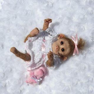 "OOAK Hand Sculpt Mini Polymer Clay 6"" Baby Monkey Artist Doll"