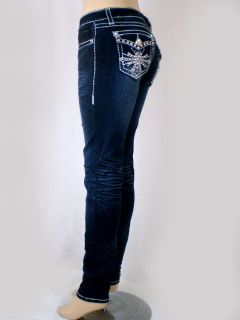 Women La Idol Dark Denim Skinny Jeans Crystal Cross Bold Stitching Sz 0 15