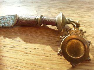 Antique Enamel Persian Turkish Brass Letter Opener Knife Kinjal Kindjal Dagger