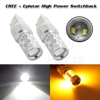 2X 4157 3157 Switchback Dual Color 50W CREE LED Turn Signal Light Projector Bulb
