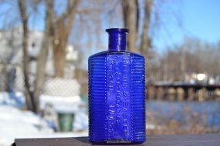 Antique Cobalt Blue Bottle Melvin Badger Apothecaries Boston Mass Nice