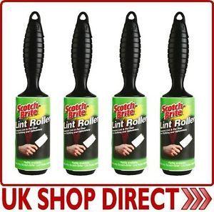 Scotch Brite 3M Lint Roller Pet Hair Dust Fluff Cloth Remover Scothbrite New 4pk