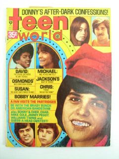 Lot of 3 Vtg Right on and Teen World Magazines 1970's Hip Groovy Music Fashion