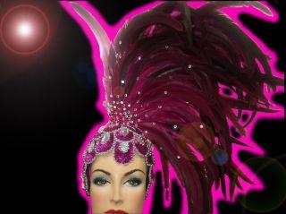 Purple Showgirl Drag Carnival Cabaret Dance Costume Sequin Feather Headdress