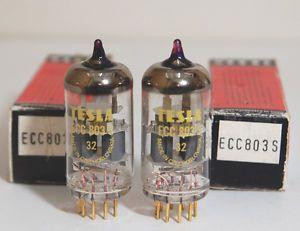 ECC803S ECC83 12AX7 Pair Tesla Gold Pins Tubes Original