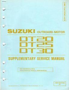 1987 Suzuki Outboard DT20 DT25 DT30 Supplement Service Manual 99501 96310 03