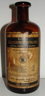 Antique Elixir Glycerophosphates Medicine Bottle Amber Glass H K Mulford USA