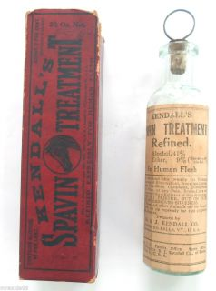 Kendall's Spavin Treatment for Human Flesh Embossed Paper Label Bottle w Box