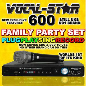 Vocal Star 600 CDG DVD USB Karaoke Machine Player Microphone Top Songs
