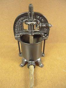 Antique Cast Iron Enterprise Mfg Co Sausage Stuffer Fruit Lard Wine Press 2 Qt