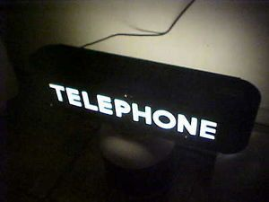 RARE Vintage Bell System Telephone Lighted Sign Double Sided Black KS 14154